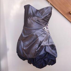 Grey to Blue Ombré Ruffle Dress